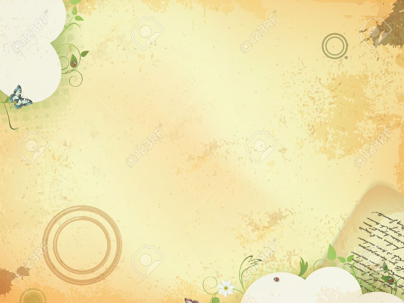 Vintage grunge background with 18th century letter and nature elements - 9929512