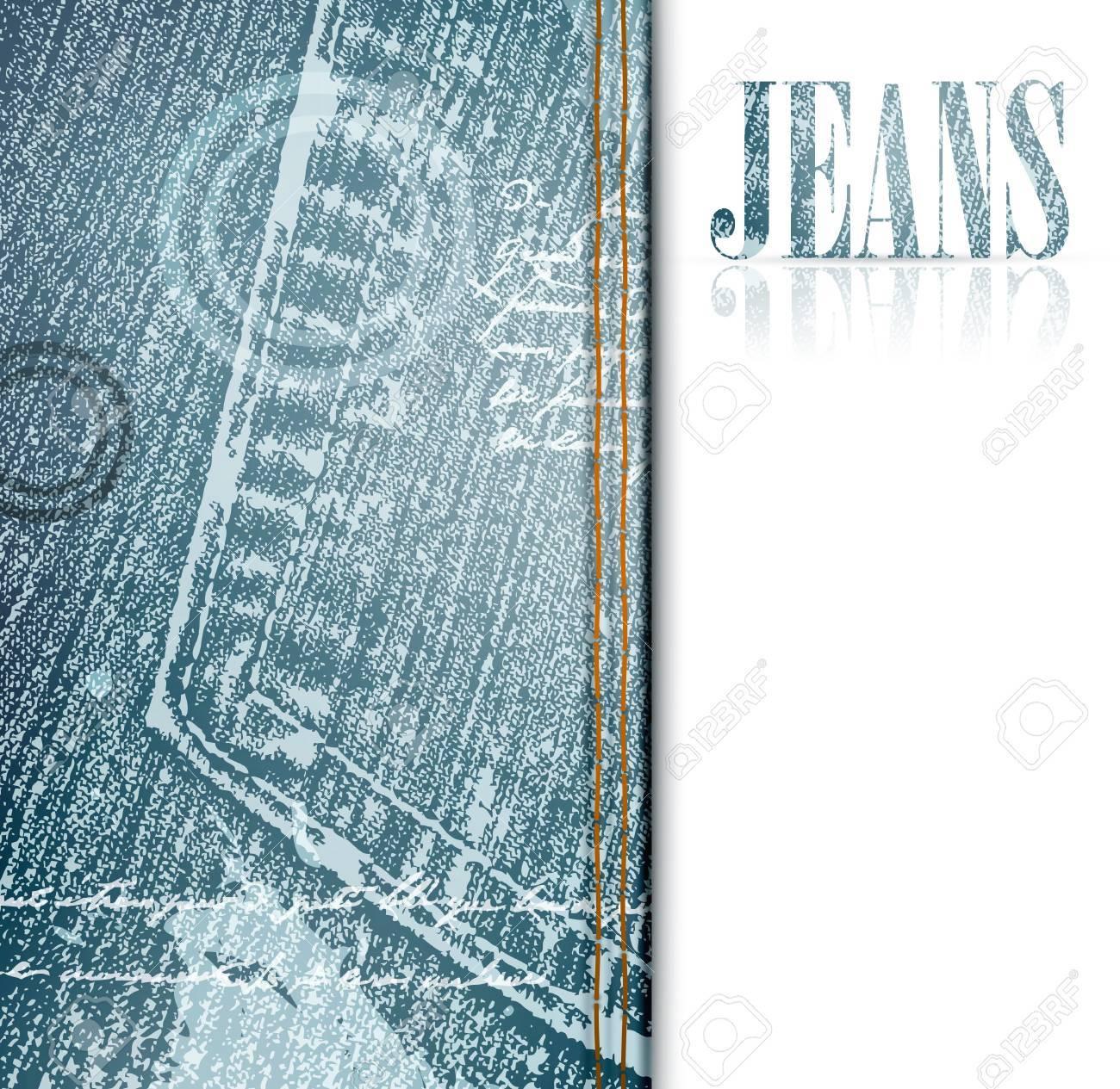 illustration of grunge jeans frame, copyspace - 9929520