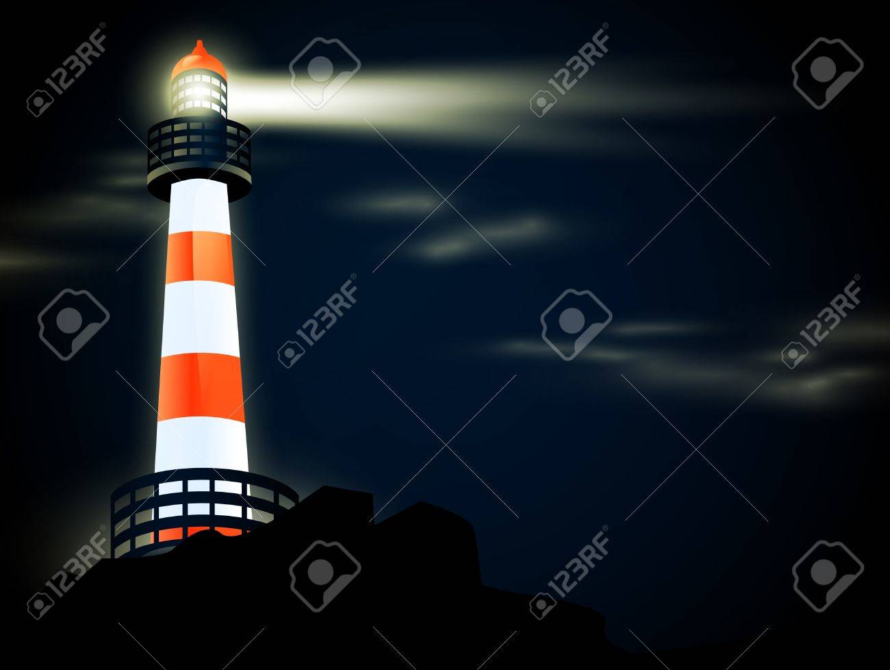 illustration of lighthouse at coastline in the night - 10043039
