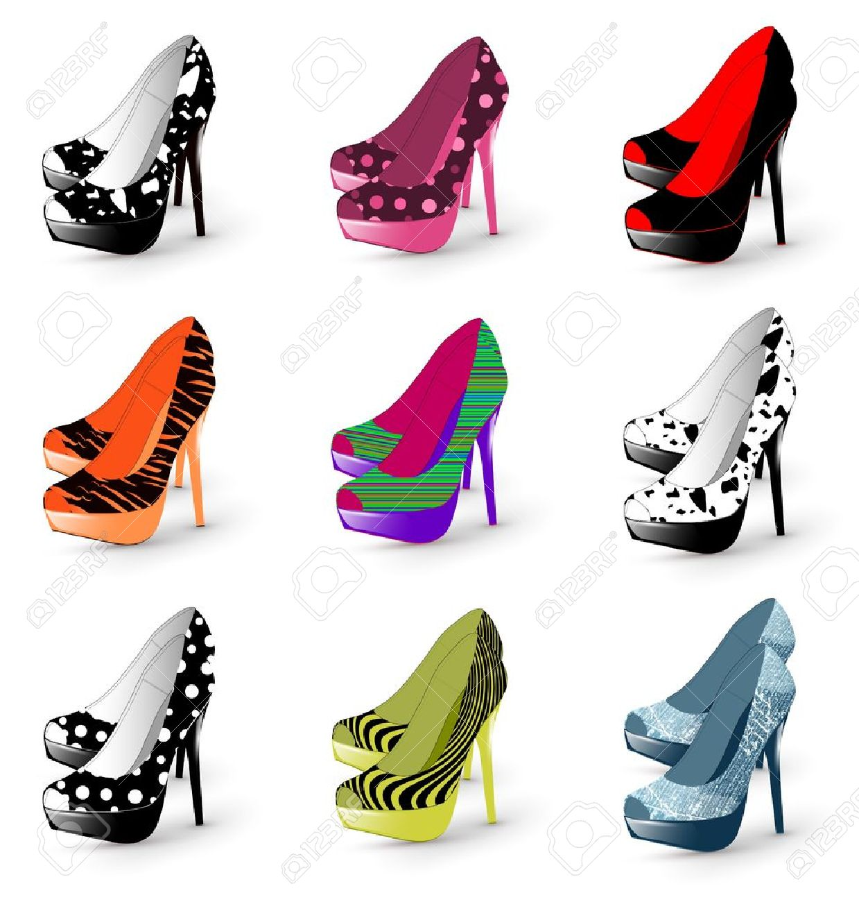 Illustration of fashion high heel woman shoes collection - 10415854