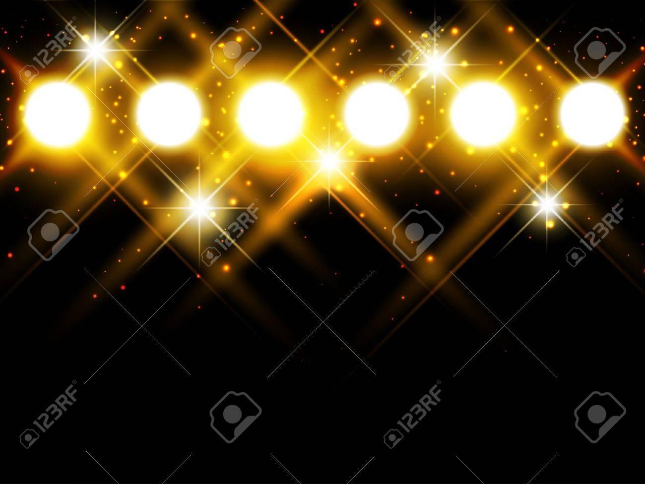 spotlights with stars over dark background, copyspace - 11411437