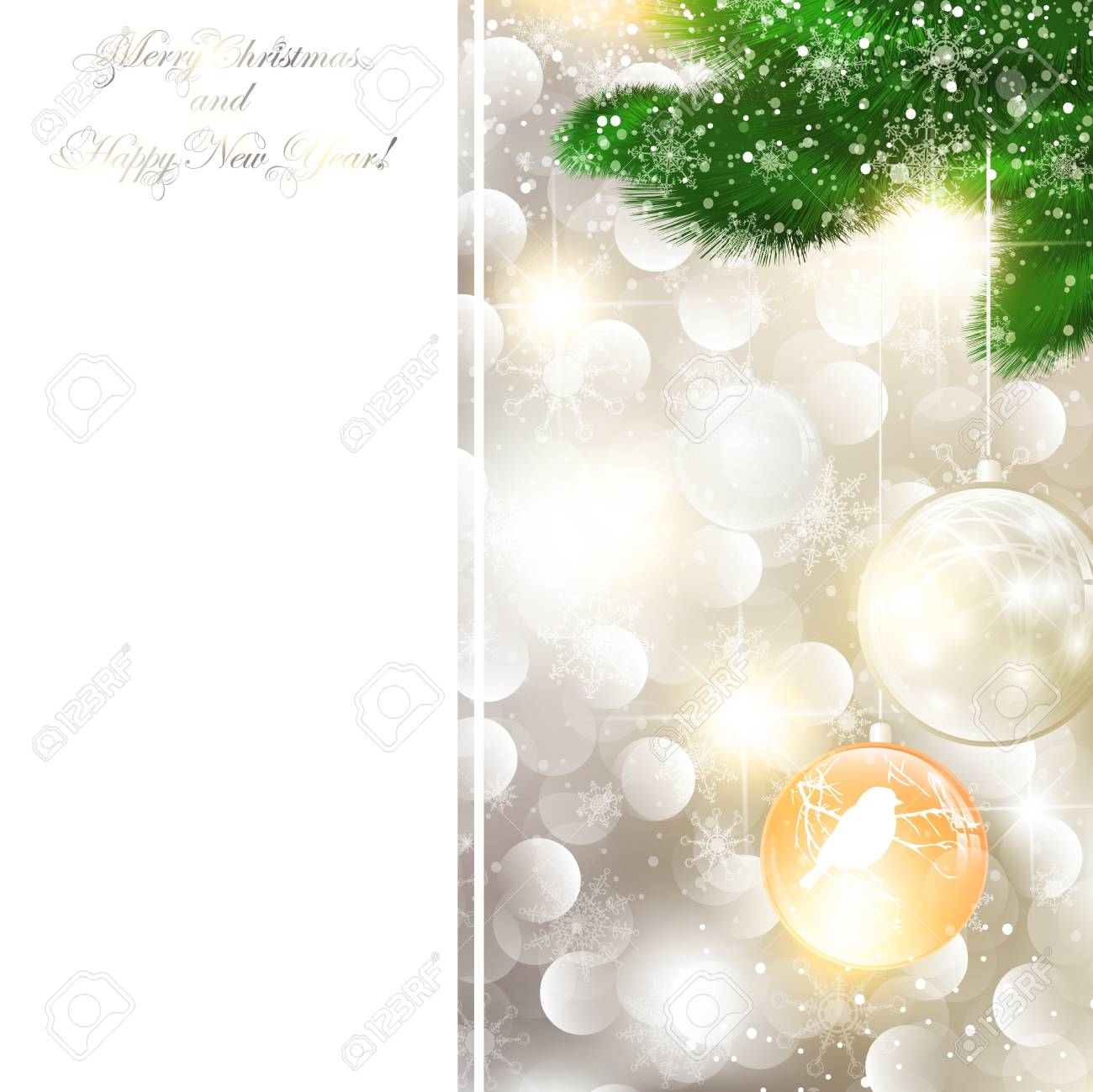 New Year and Christmas Greeting card, copyspace for your text Stock Vector - 11411445