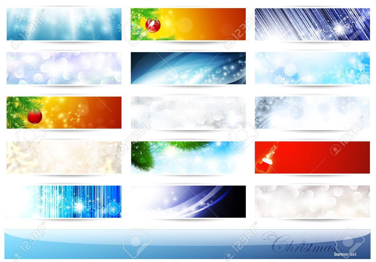 bright multicolored Christmas and New Year banner set over white Stock Vector - 11411448