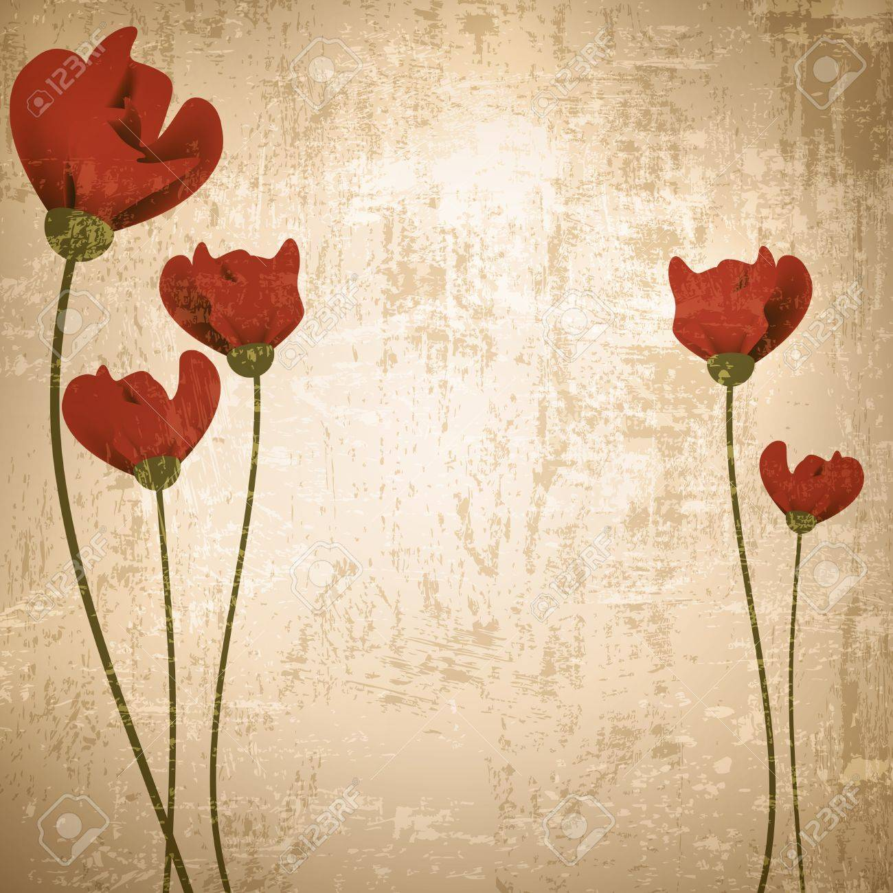 Vintage grunge floral background with red poppies - 12486540
