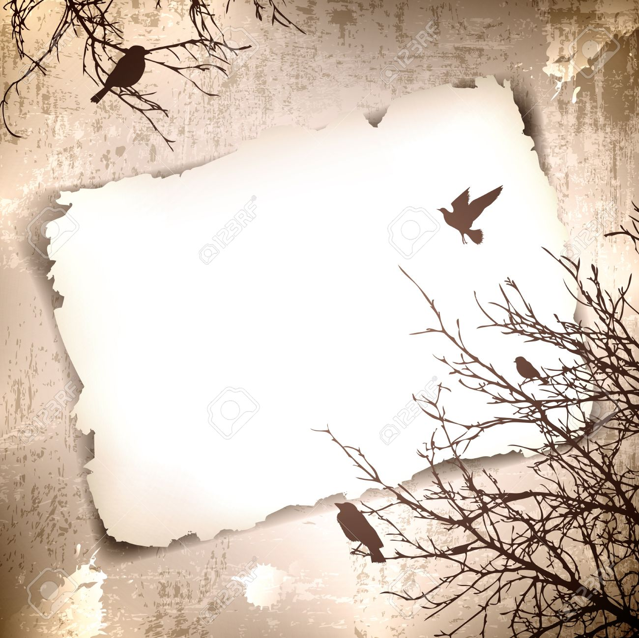 Vintage grunge background with spring birds at tree and copyspace for your text - 12486541