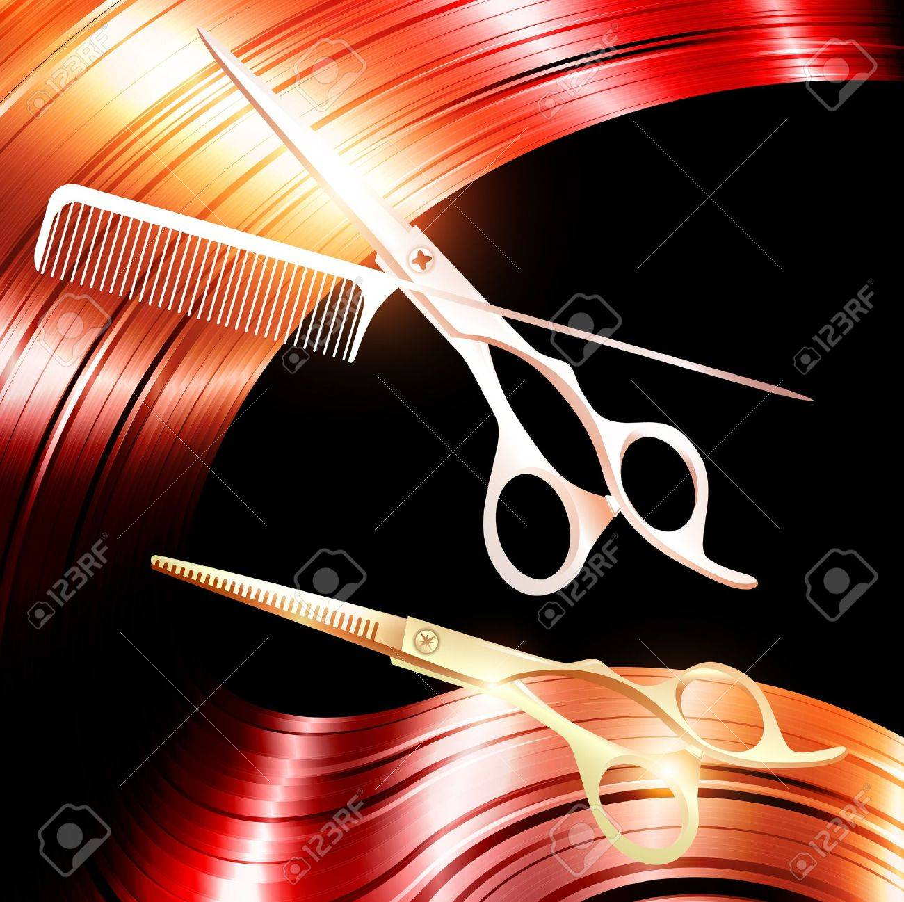 Hair and cutting scissors with metal pin tail comb - 13111233