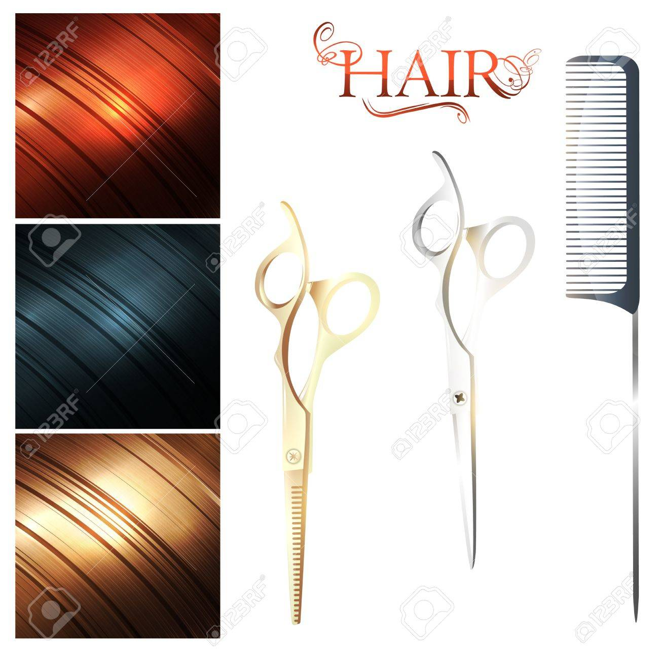 Hair sample palette and cutting scissors with metal pin tail comb - 13111234