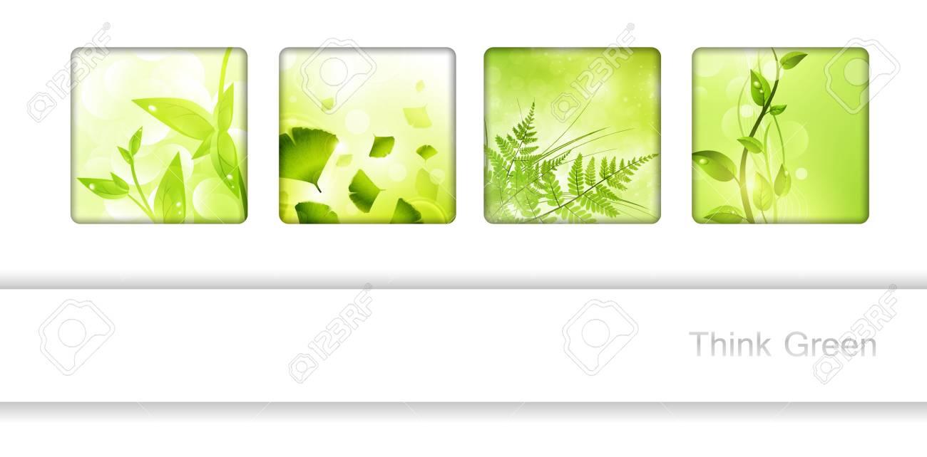 Colección De Marcos Eco Con Hojas Verdes Y Copyspace Para Su Texto ...