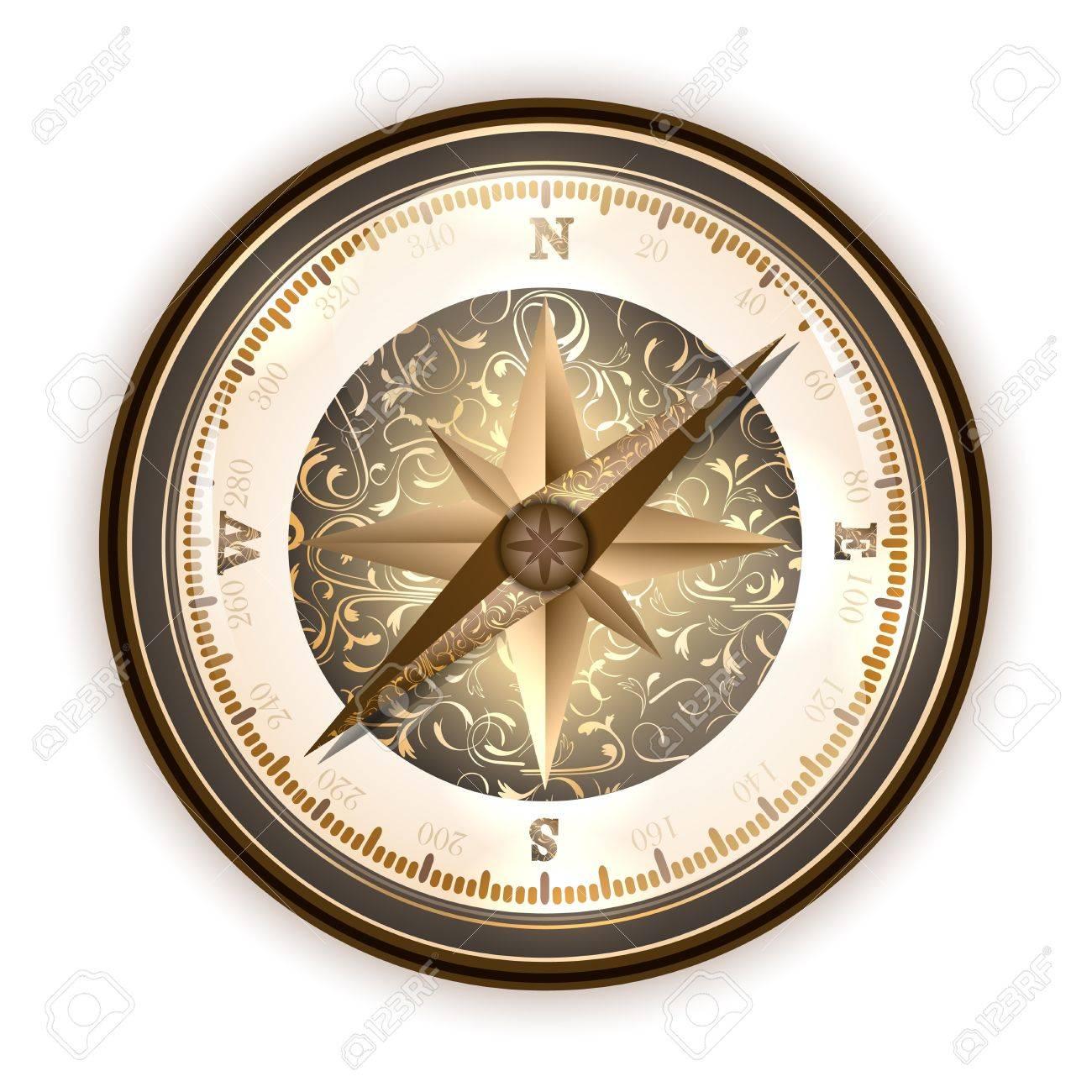 Vintage antique compass over white - 14008443