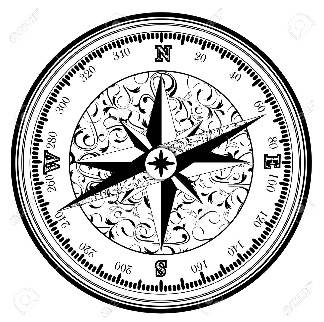 Vintage Antique Compass In Black And White Royalty Free Cliparts