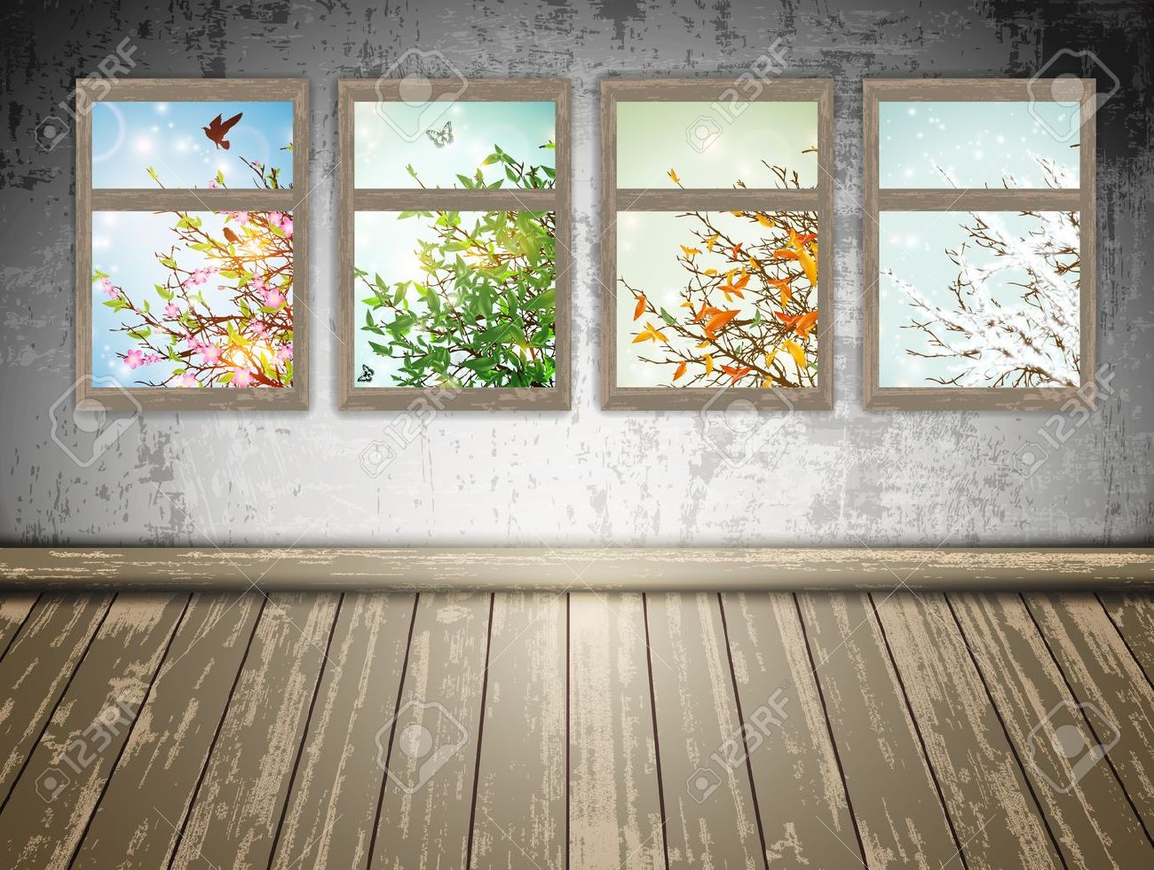 abandoned room with a Four Season windows: spring, summer, autumn and winter - 14404525