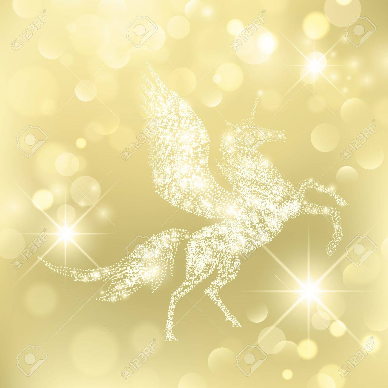 Magic Holiday Pegasus Which Grants Wishes over golden background
