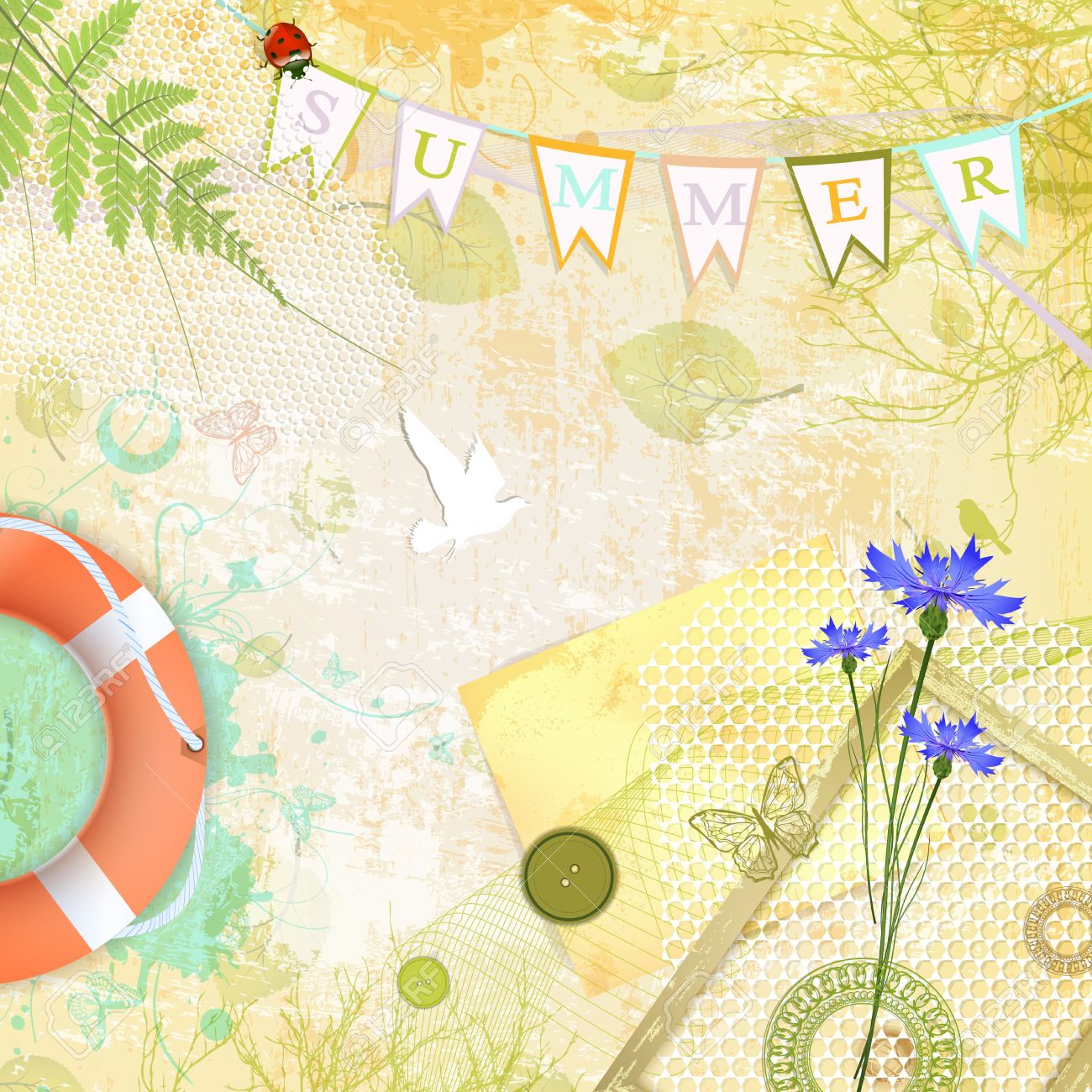 Summer Scrapbooking Abstract Background - 18792882
