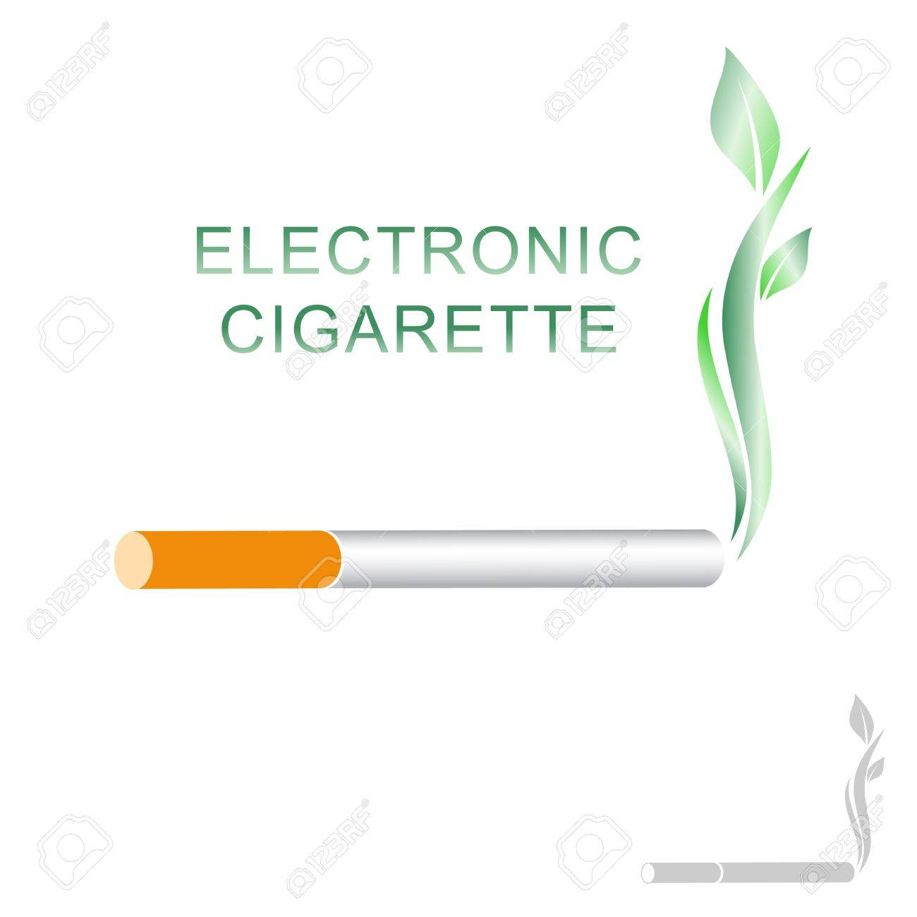 Electronic Cigarette Concept With Green Leaves Over White - 19751269