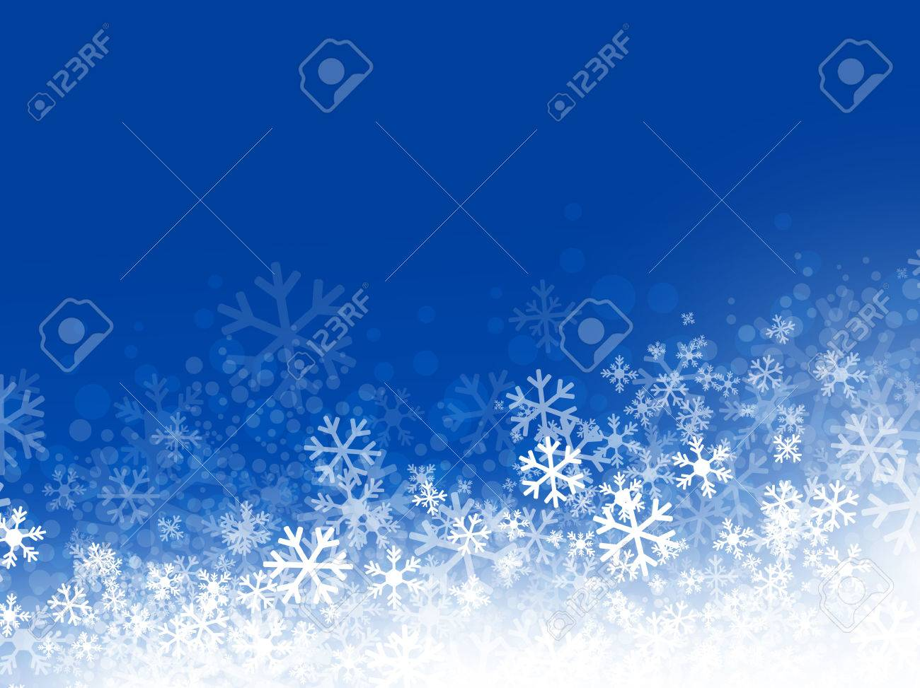 Winter Abstract Snowflake Background in Blue, Copyspace - 23117339