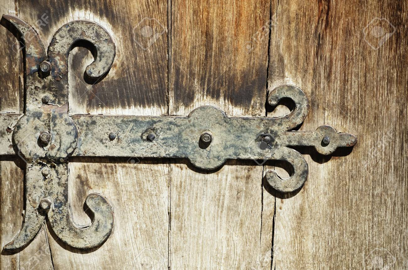 Genial Stock Photo   The Vintage Door Hinges Over Old Wooden Background