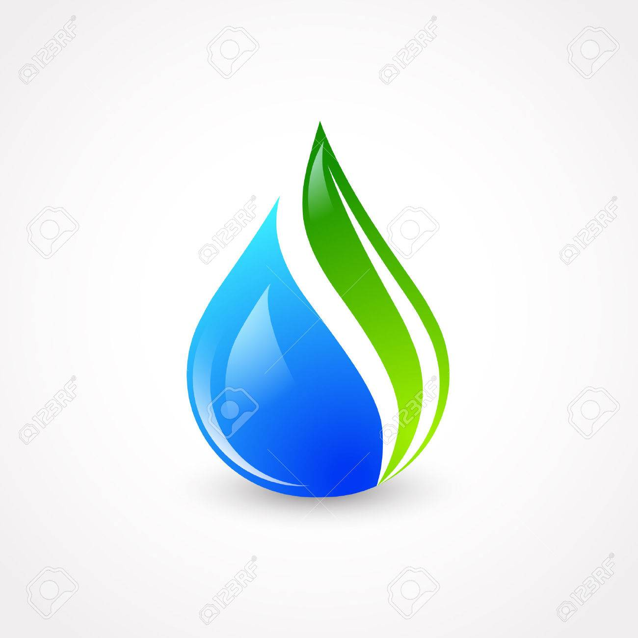 Illustration of Eco Water Drop With Green Leaf - 32054128