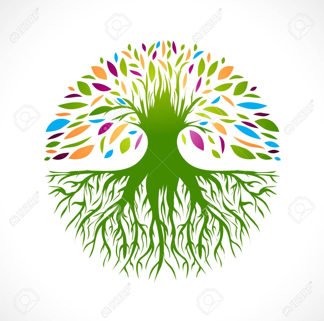 Illustration of Multicolored Round Abstract Vitality Tree - 38935818