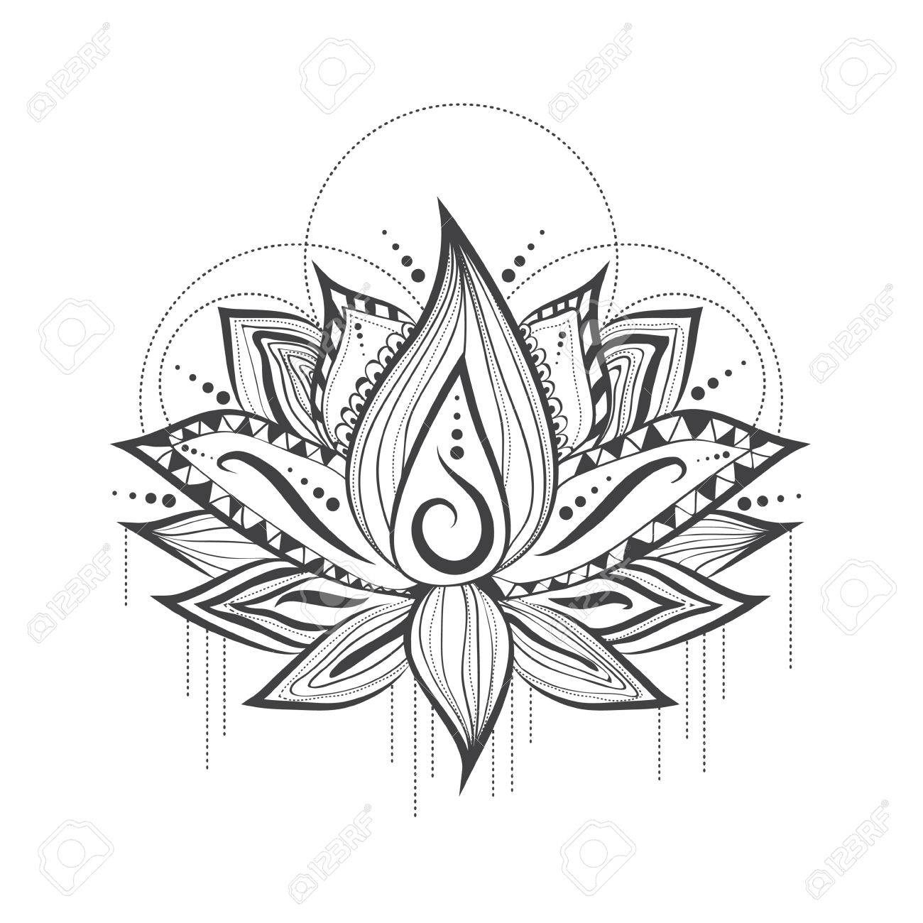 Illustration Of Abstract Tattoo Logo Design Of Lilly Lotus Flower ...