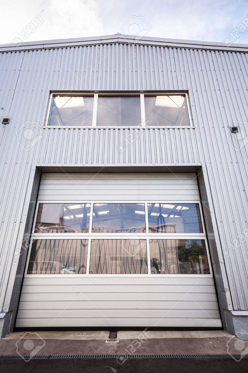 Sliding Door Of A White Industrial Hall Stock Photo Picture And