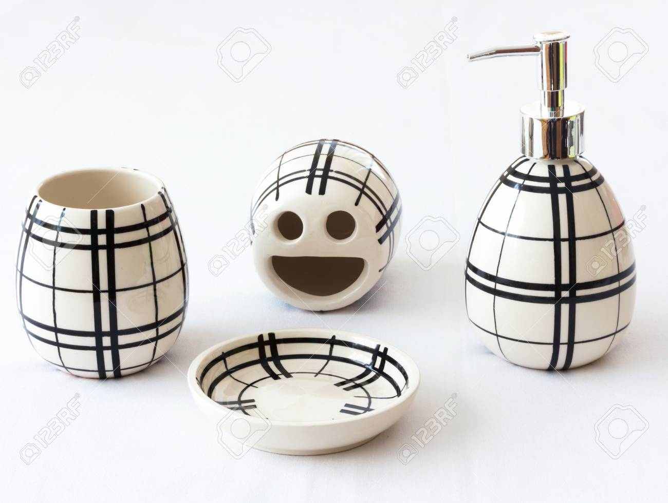 Black Stripes On White Ceramic Bathroom Accessories Isolated Stock