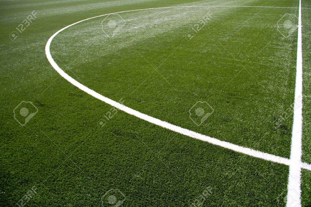 closeup on white soccer field lines Stock Photo - 7023939