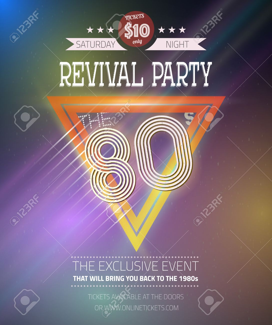 80s poster design - Illustration Of Retro Disco 80s Neon Poster Made In Tron Style With Triangles Flares