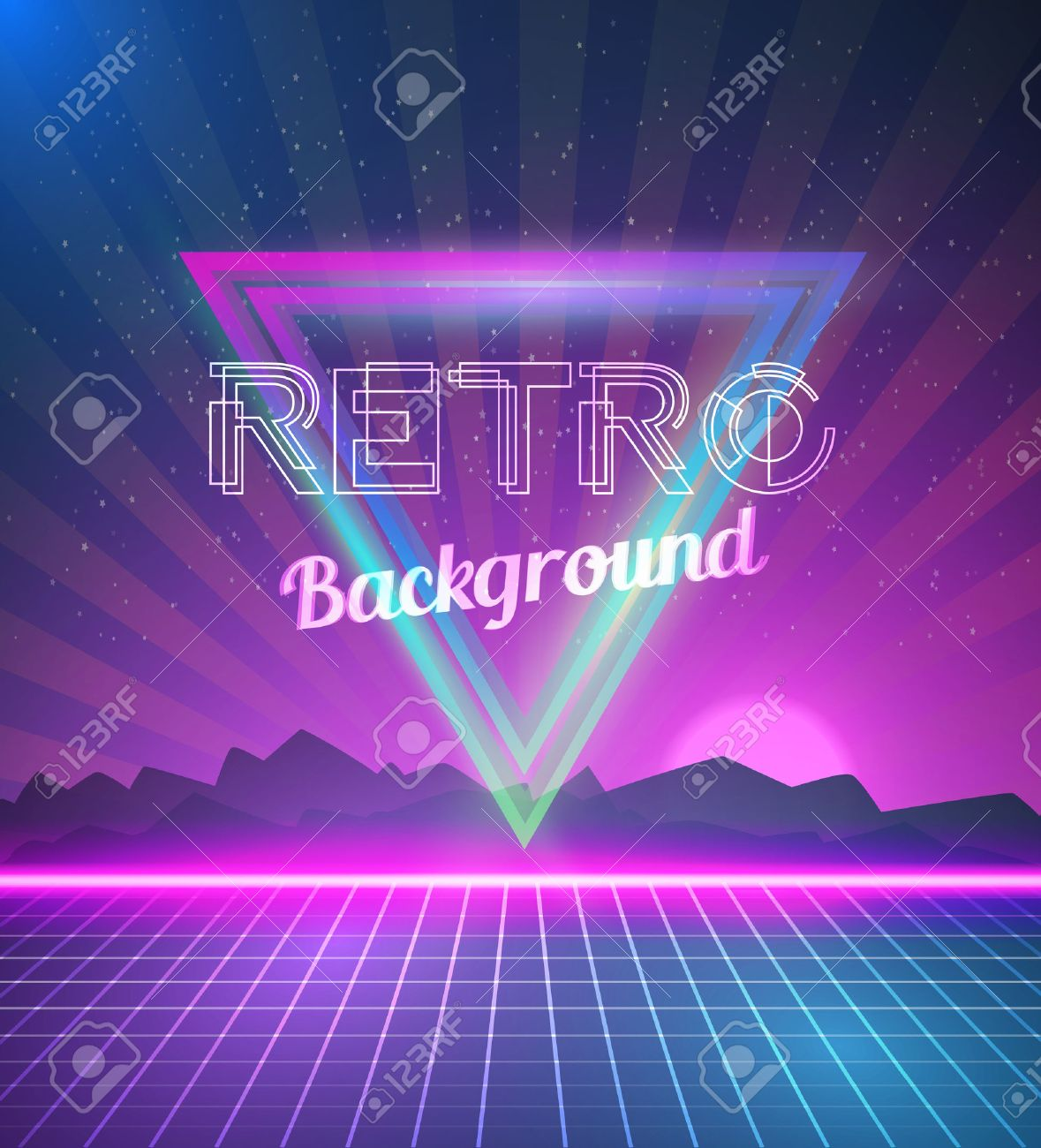 80s poster design - Illustration Of Retro Disco 80s Neon Poster With Triangles Flares Partickles Stock Vector