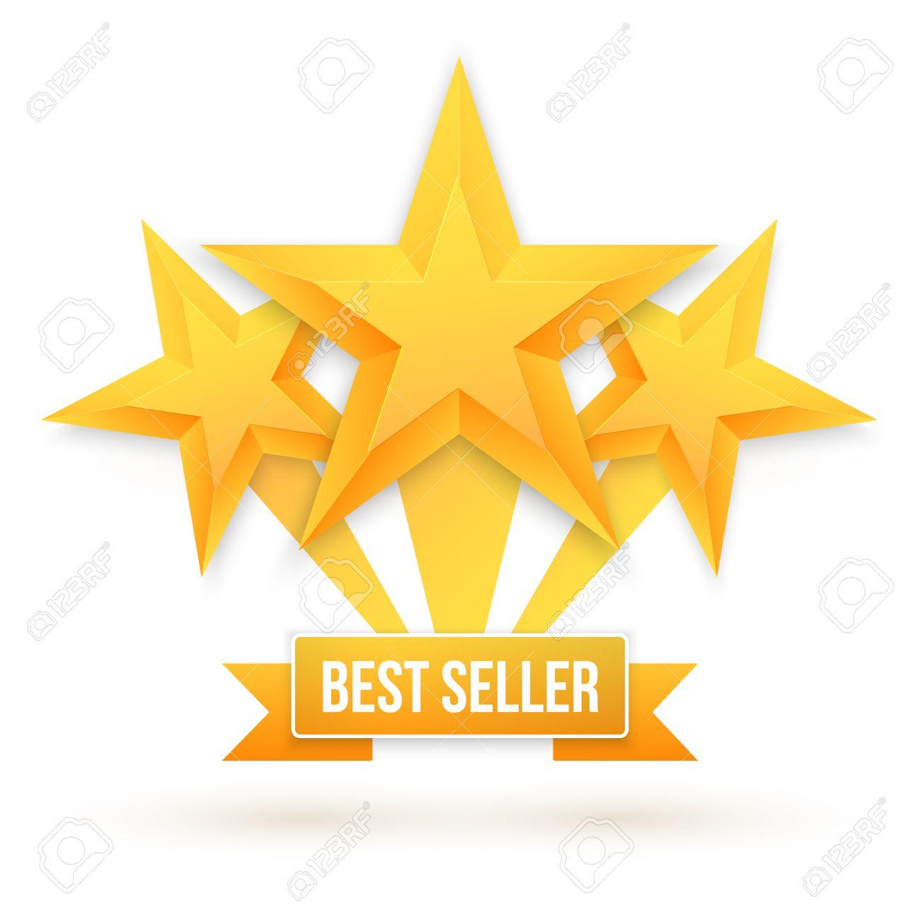 最高の売り手のゴールドのイラスト背景の星します。5 つ星の評価はトップ