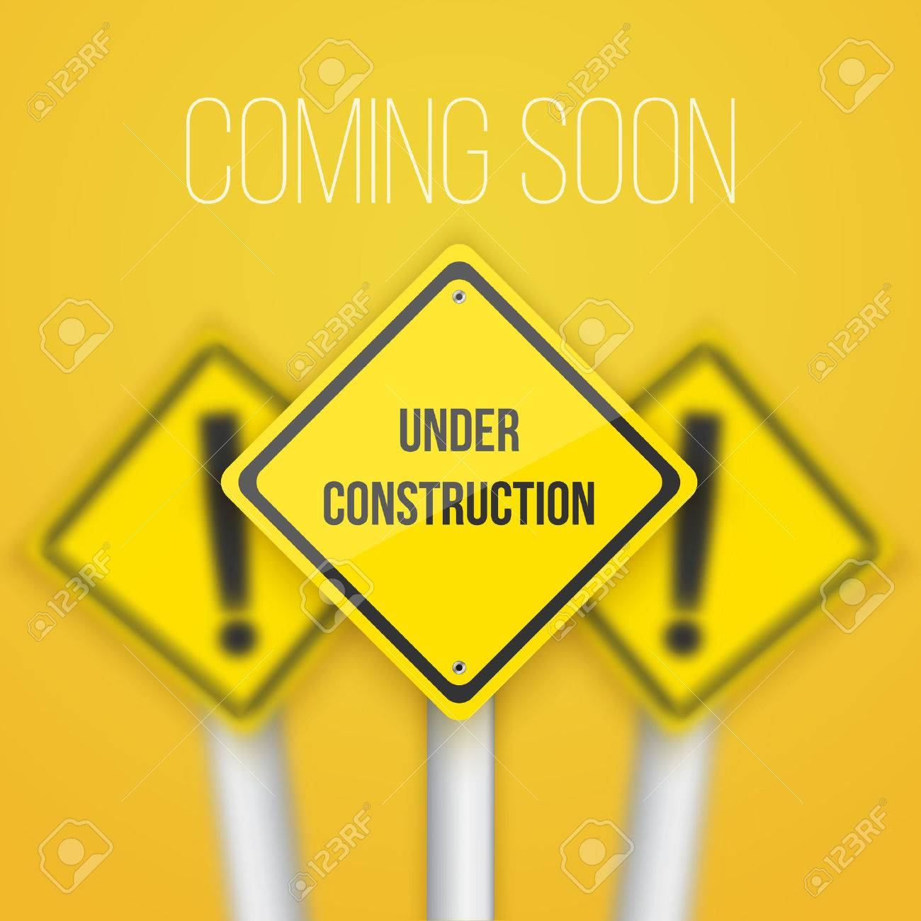 road sign with under construction text template royalty free