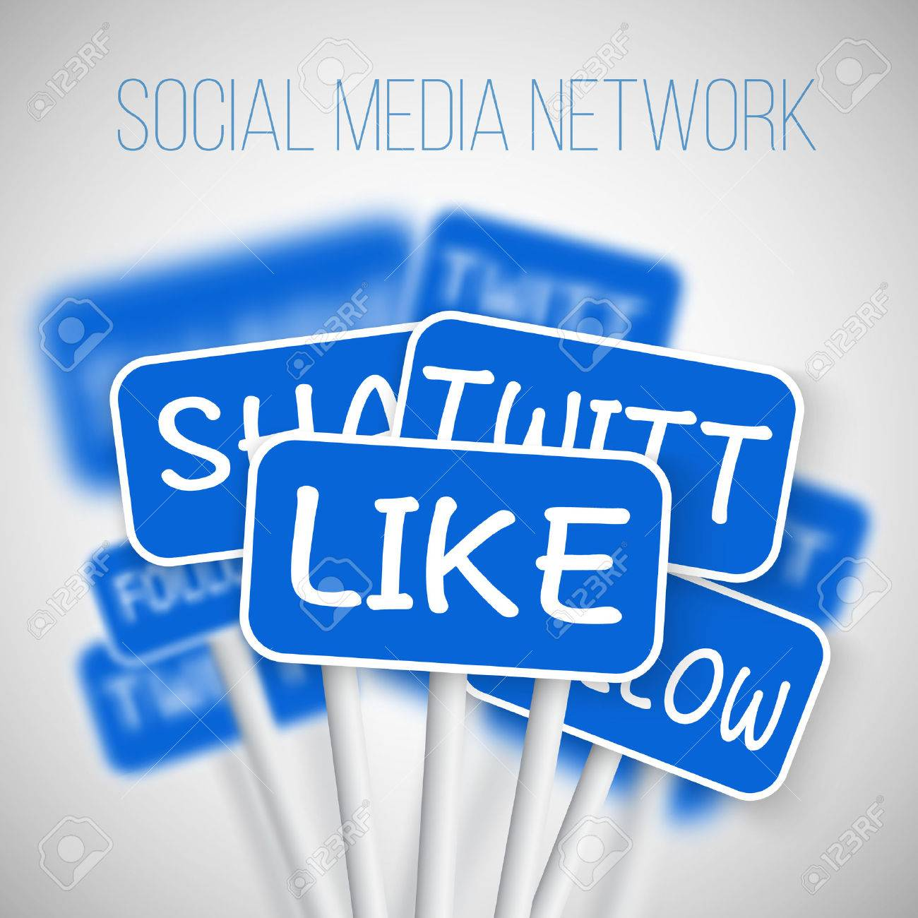 Illustration of Set of Social Media Network Road Signs. include Like Share, Follow. For your Social Media Banner, Icon, Blog or Social Media Advertising. - 50459942