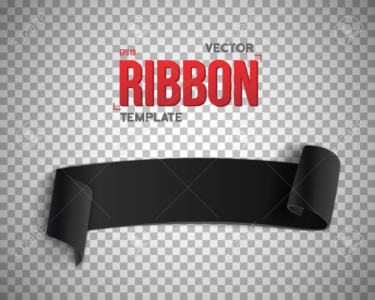 Illustration Of Black Ribbon Banner 3d Realistic Banner Isolated
