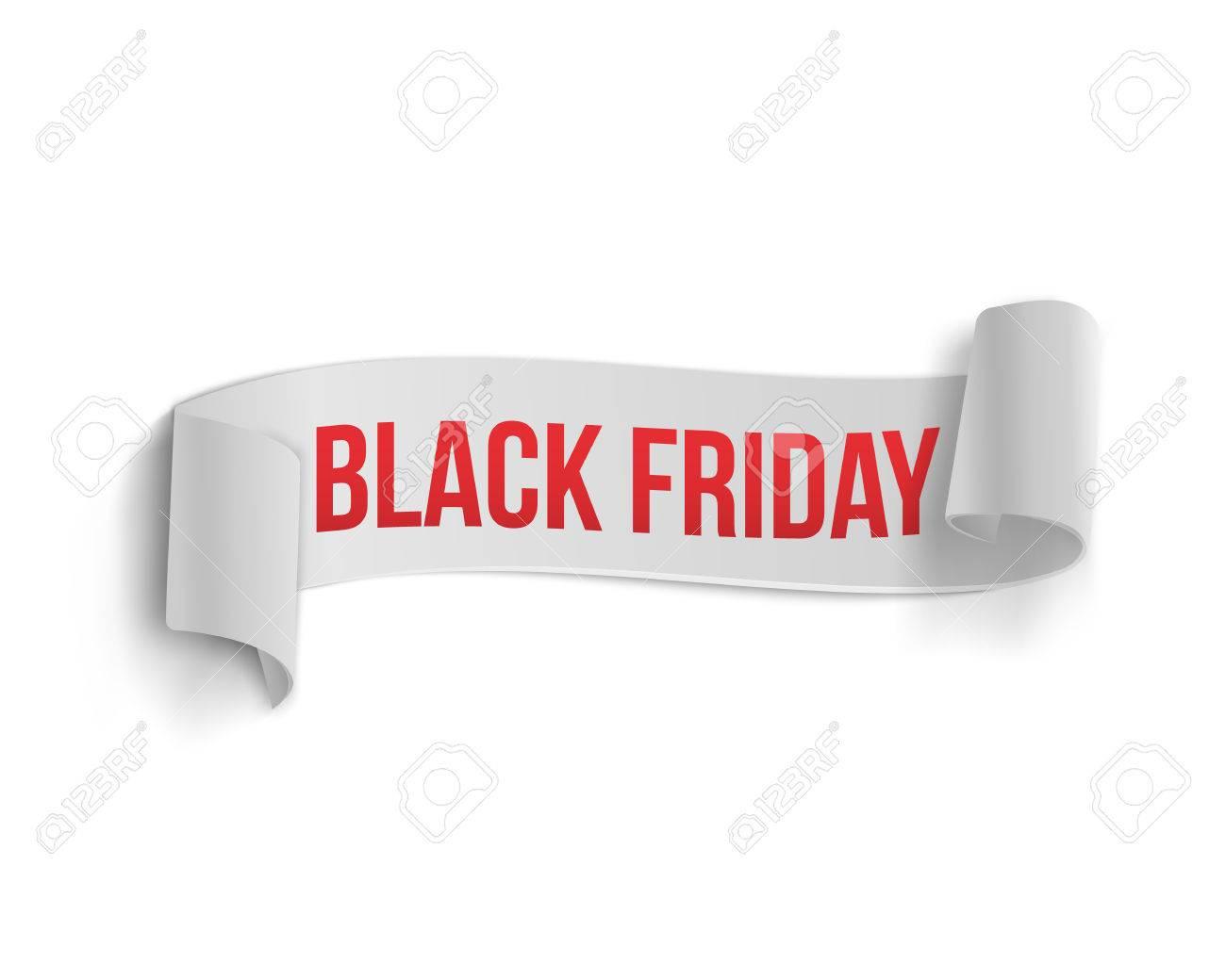 illustration of black friday sale curved ribbon banner template