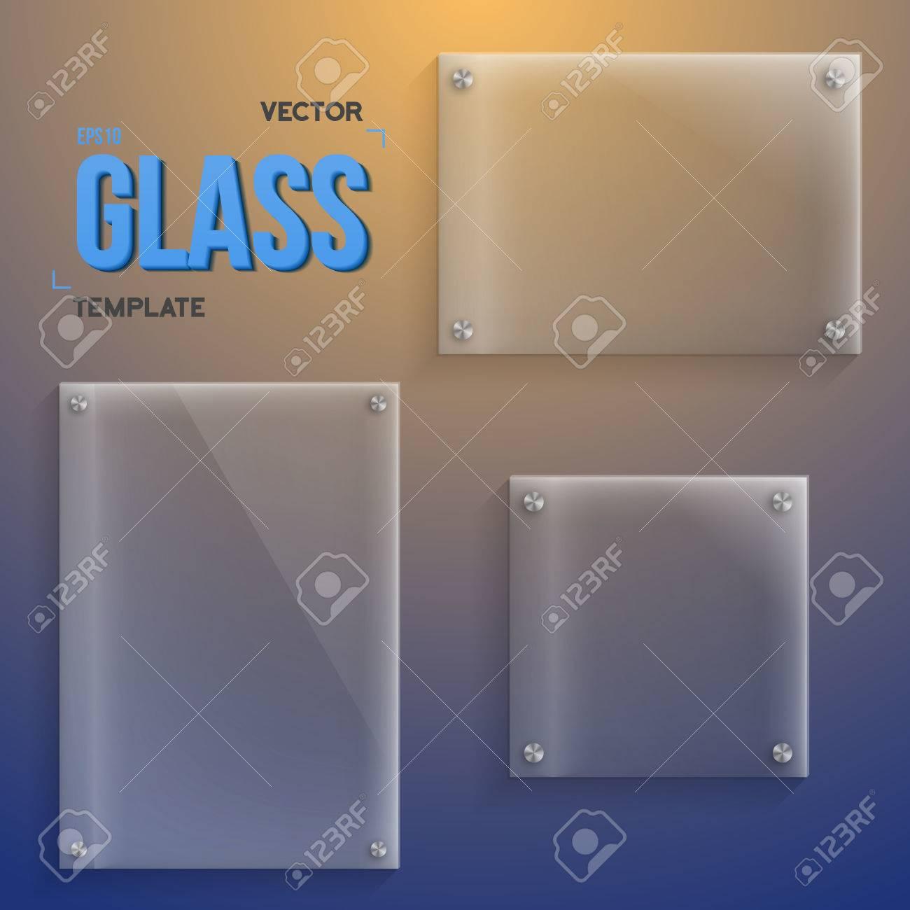 Ilustración De Vidrio Transparente. Conjunto De Modelos Realistas ...