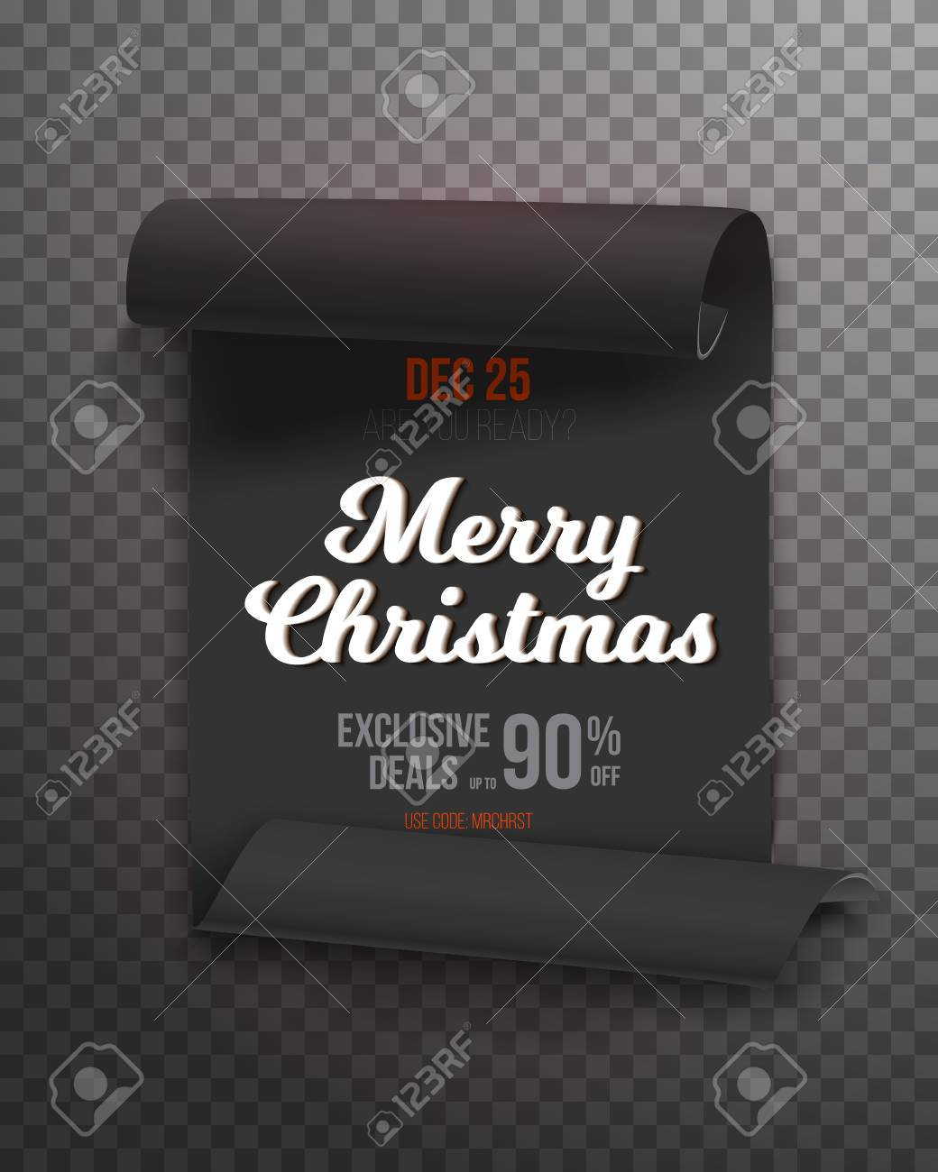 illustration of realistic ribbon banner icon marry christmas