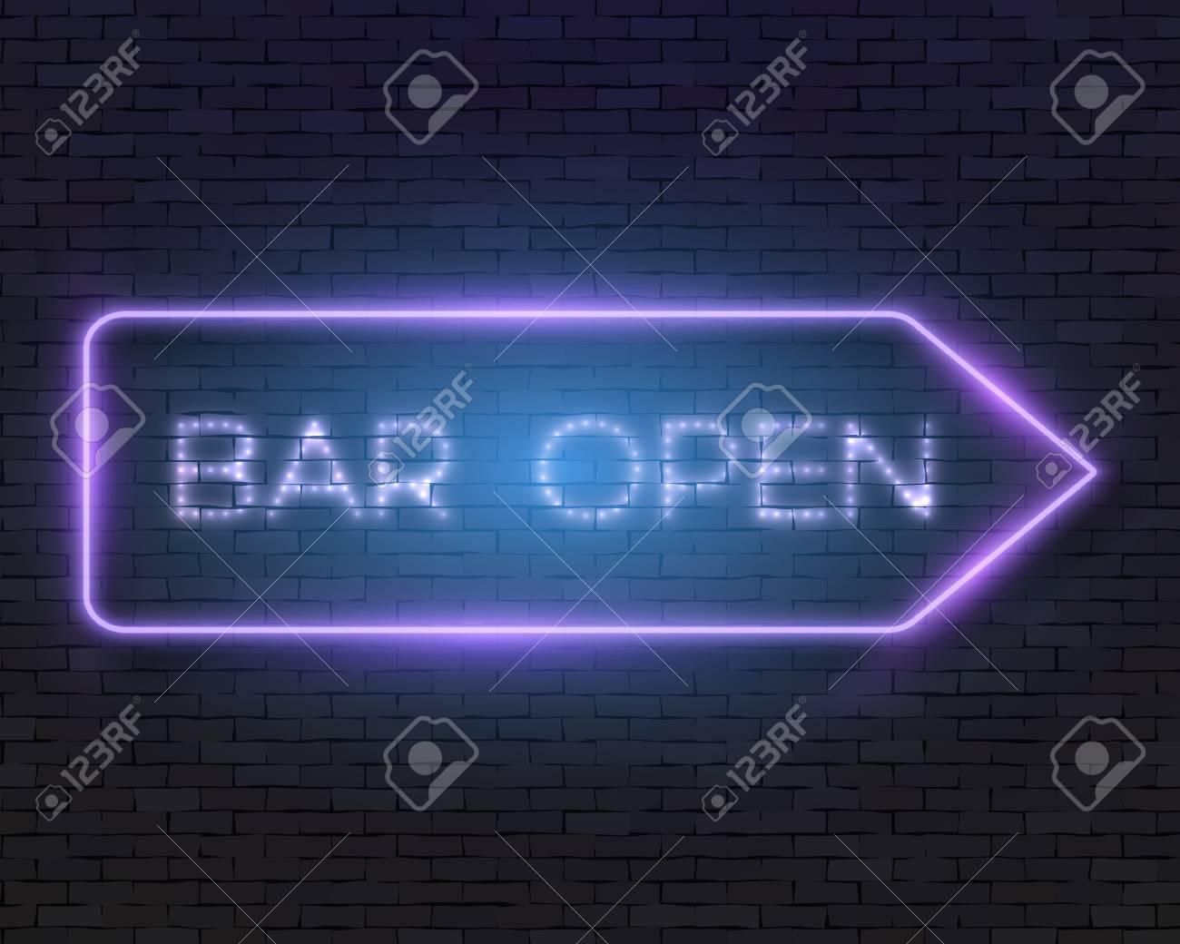 Illustration Realistische Neon Frame. Bar Geöffnet Neon-Zeichen ...
