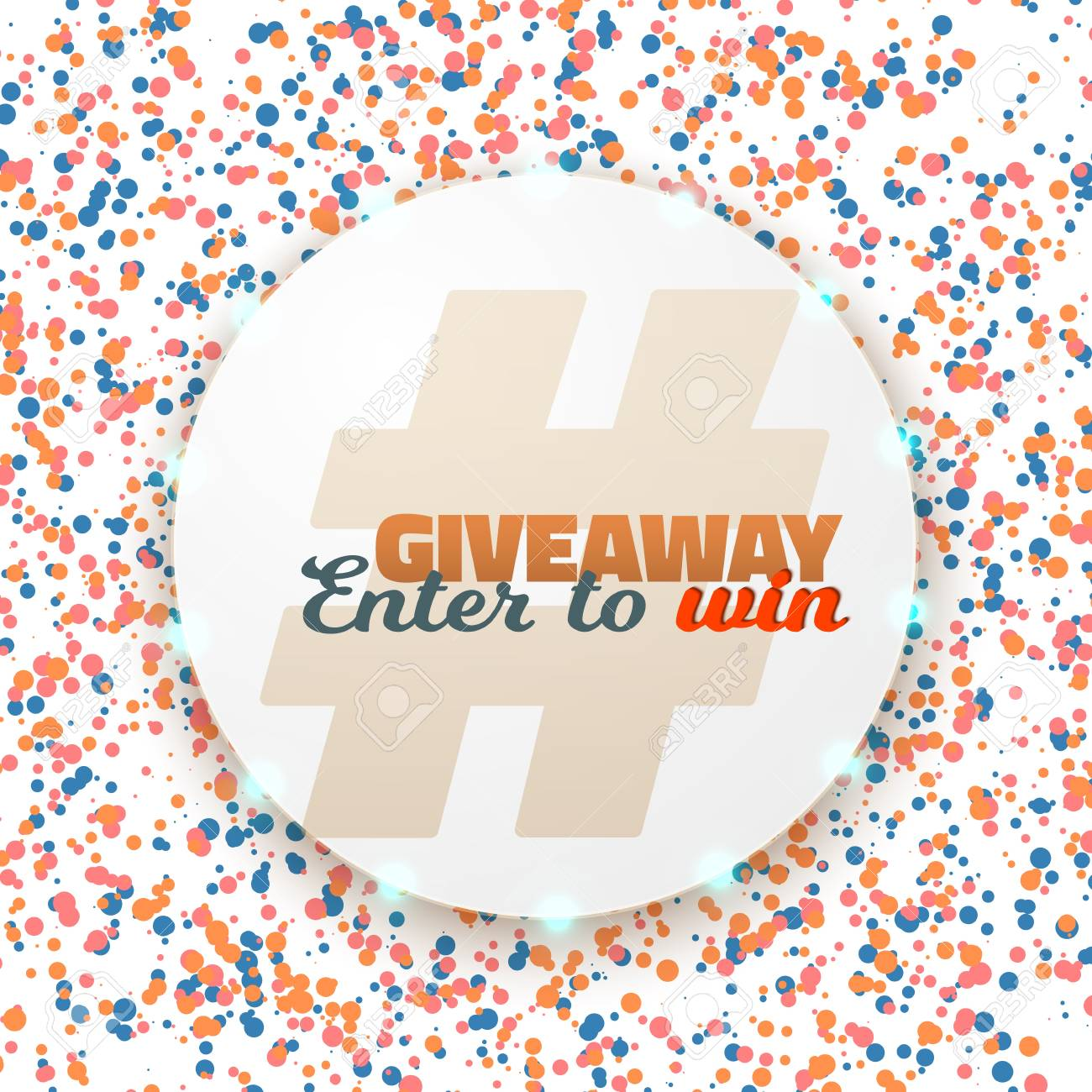 illustration of button giveaway social media promotion template