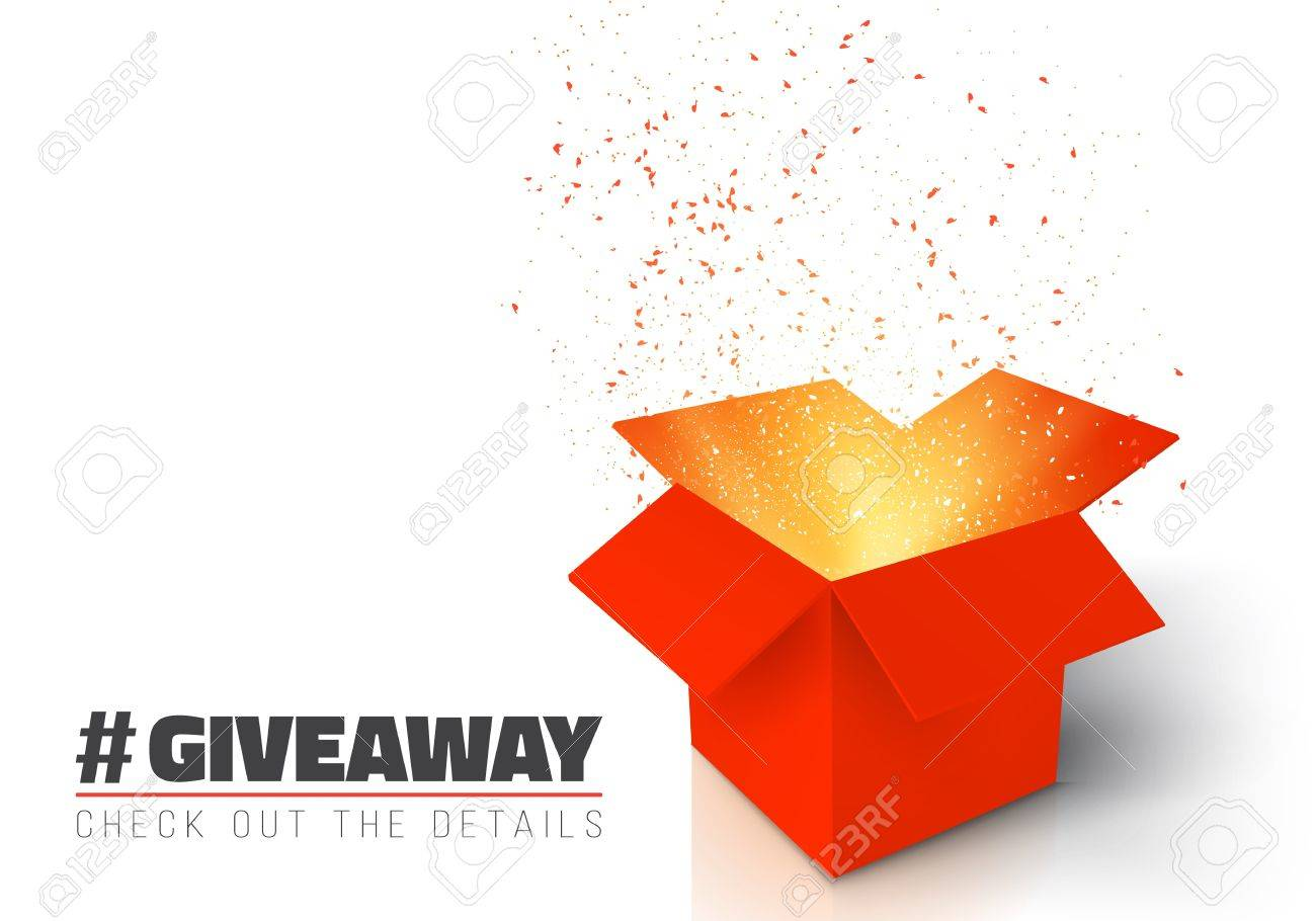 Illustration of Red Gift Box Isolated on White Background. Open Box with Confetti. Giveaway Competition Enter to Win Prize Concept - 74157637