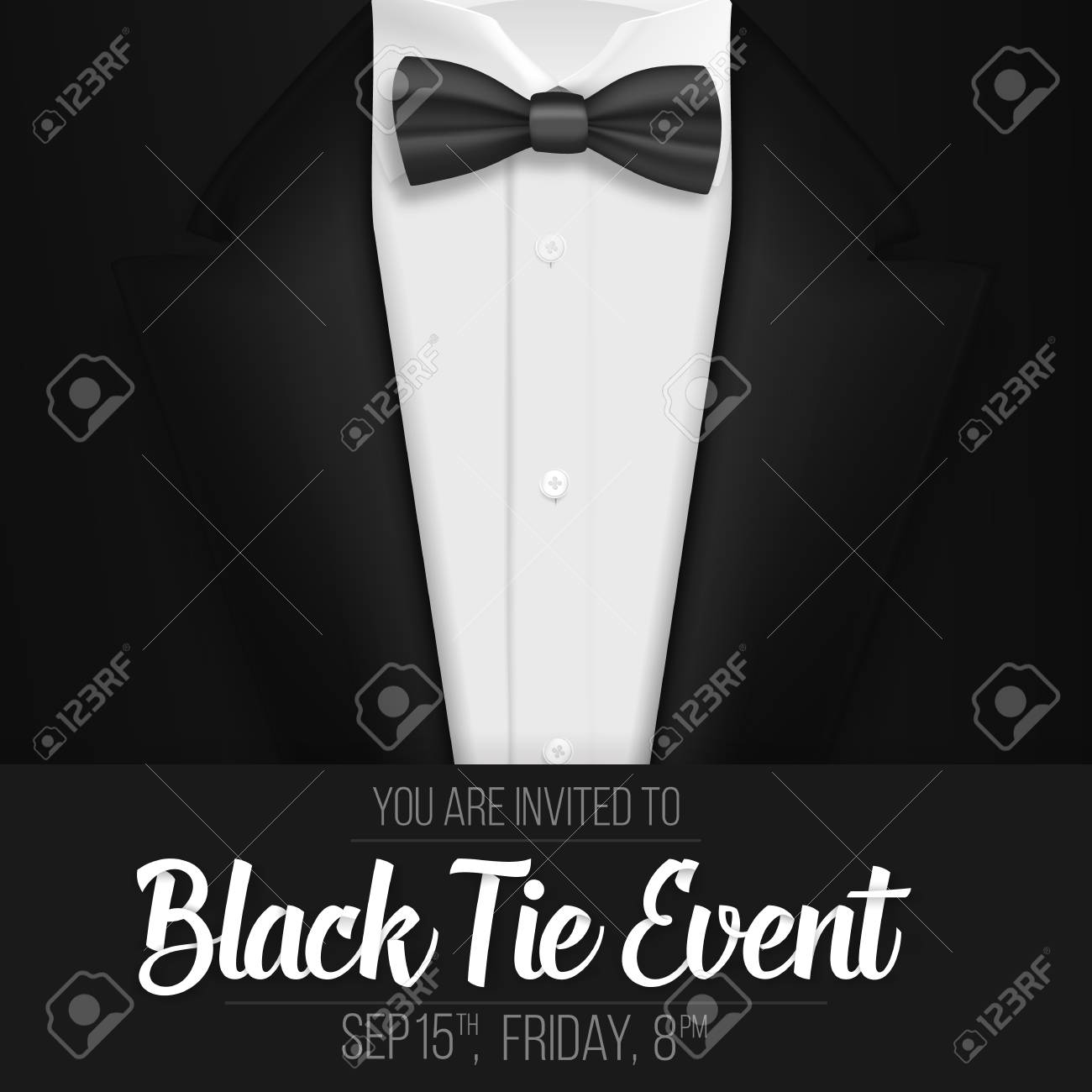 Illustration of realistic black suit black tie event invitation illustration of realistic black suit black tie event invitation templatens suit with bow stopboris Images