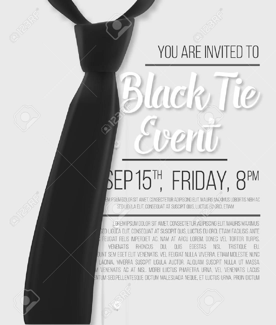 illustration of realistic white shirt black tie event invitation