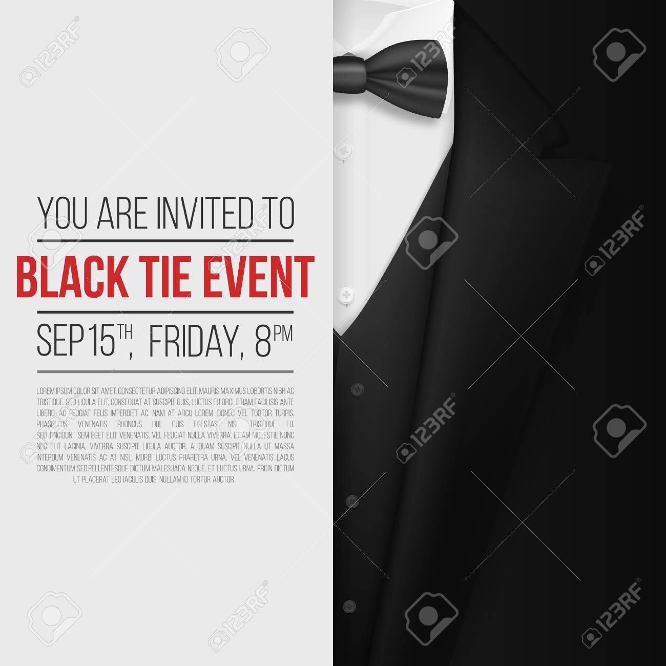 illustration of realistic black suit black tie event invitation
