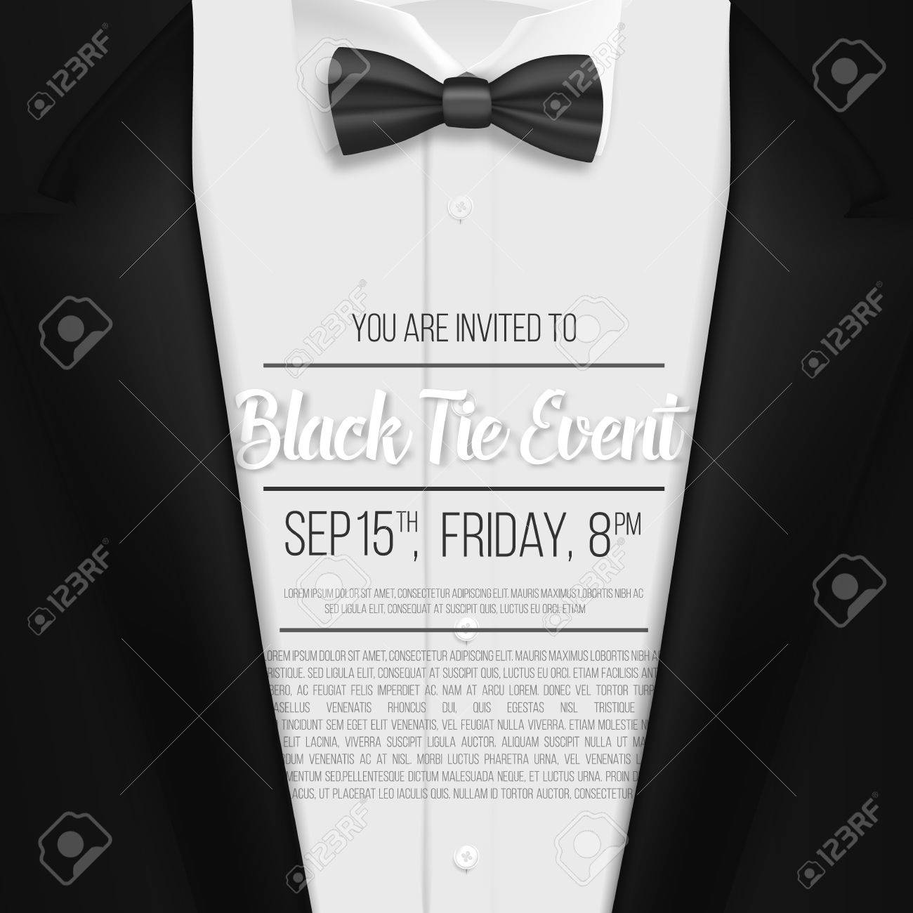 Illustration of realistic black suit black tie event invitation illustration of realistic black suit black tie event invitation template mens suit with bow stopboris Images