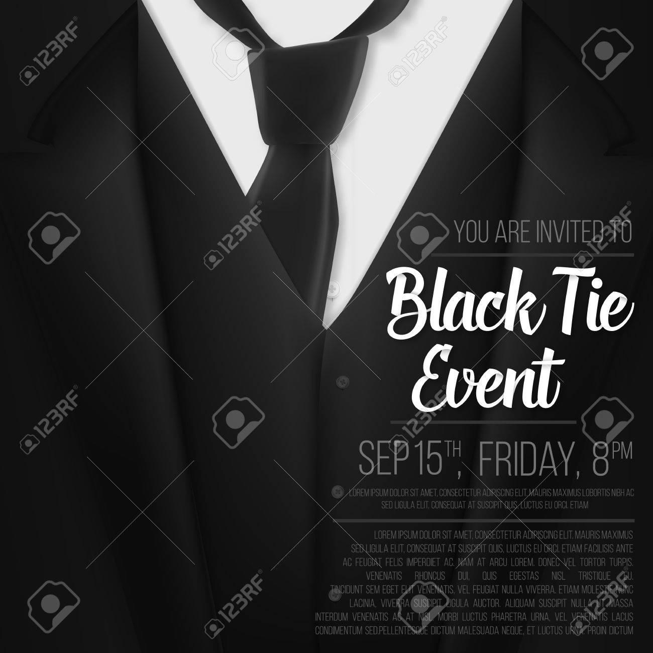 0440999f2d0a Illustration of Black Suit. Black Tie Event Invitation Template. Realistic  tor 3D Man Suit