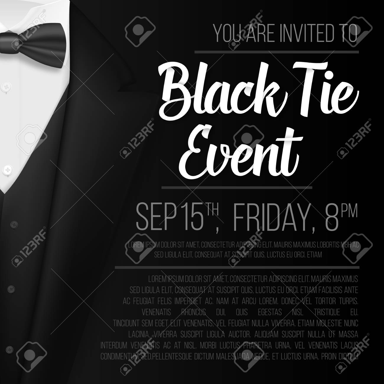 Illustration of realistic vector black suit black tie event illustration of realistic vector black suit black tie event invitation template vector mens suit stopboris Images