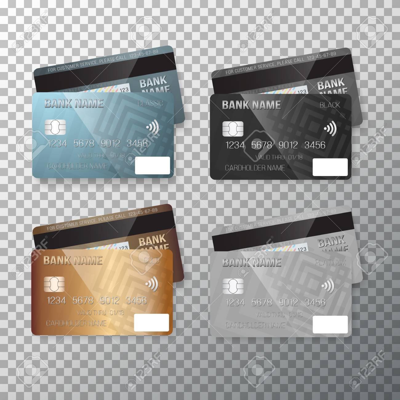 Carte Bleue Transparente.Illustration De Vecteur De Carte De Credit Cartes Bancaires Realistes Isoles Sur Fond Transparent