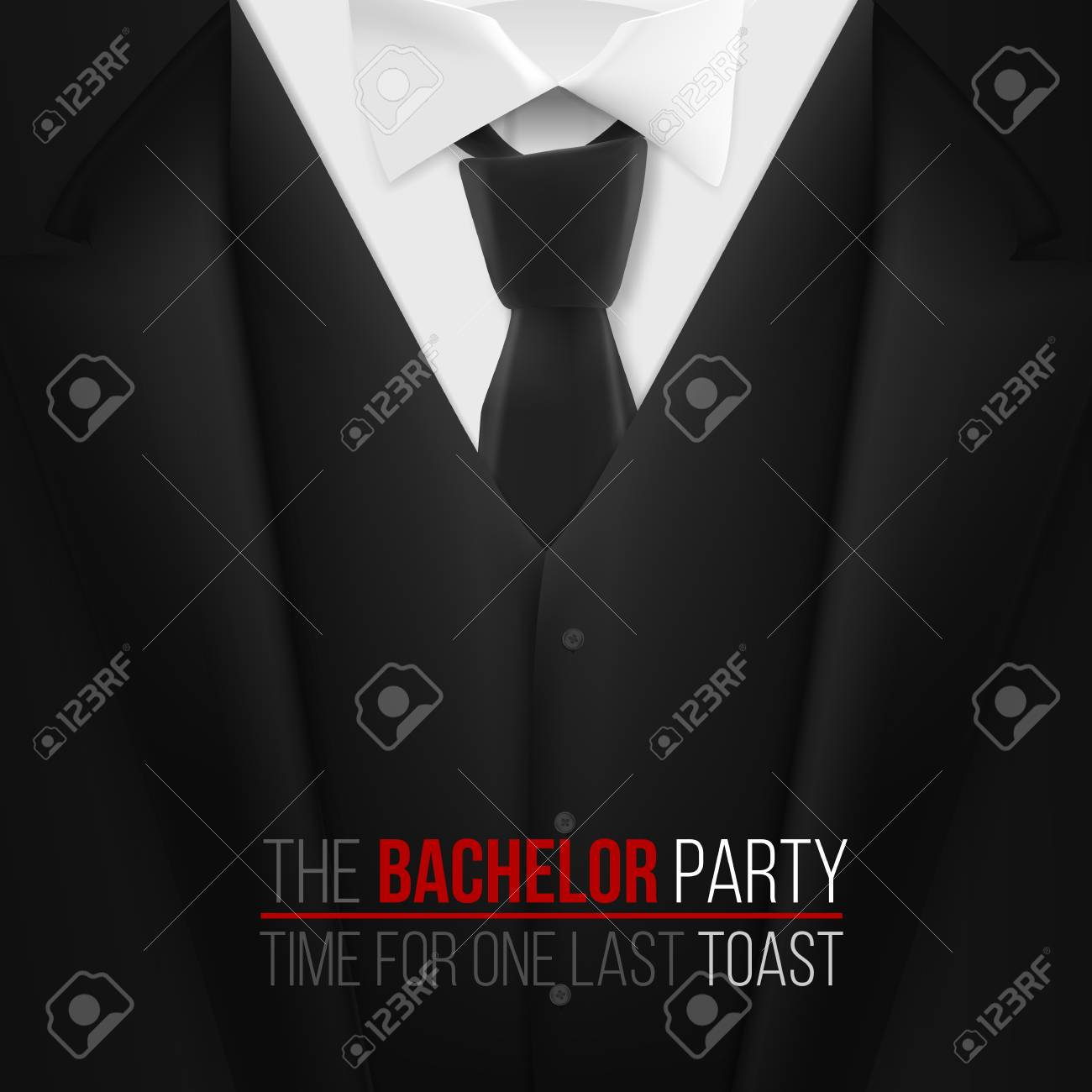 Illustration Of The Bachelor Party Invitation Template. Realistic ...