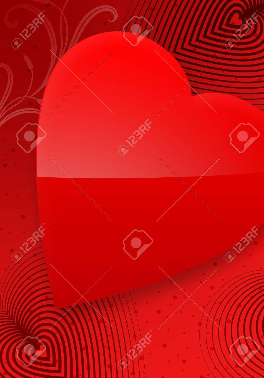 Red Valentine's Day Illustrated Heart over a red gradient background. Stock Photo - 4170664