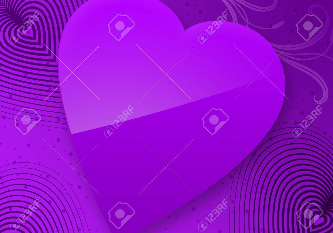 ... 123Freevectors Violet Valentine Card With Heart Stock Vector   Image:  82696388 ...