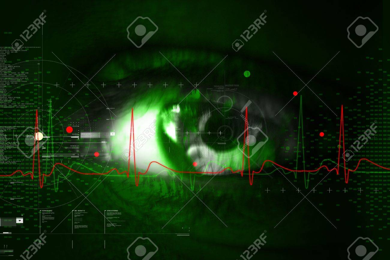 Digital illustration of an eye scan as concept for secure digital identity Stock Photo - 7858910
