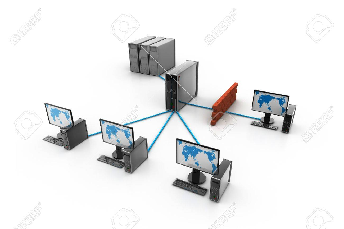 Computer Network With Firewall Protection Stock Photo, Picture And ...